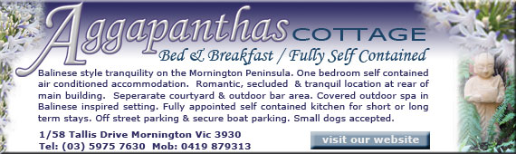 Aggapanthas Cottage, B&B, Self Contained accommodation at Mornington on the Mornington Peninsula